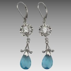 Estate Sterling CZ Topaz Pierced Dangle Earrings