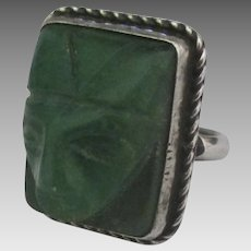 Vintage Sterling Green Onyx Carved Mask Ring- Size 6
