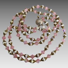 Vintage Pink AB White Crystal 2 Strand Necklace