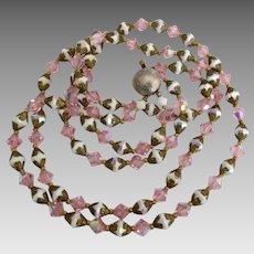 Vintage Pink AB White Crystal 2 Strand Necklace