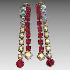 Vintage Red AB Clear Rhinestone Dangle Earrings