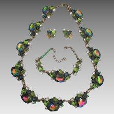 Beautiful Watermelon Rhinestone Necklace Bracelet Earrings Set