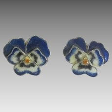 Vintage Sterling Enamel Pansy Pierced Earrings