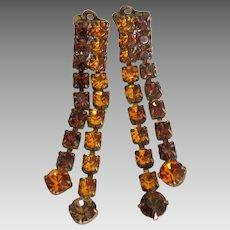 Vintage Amber Rhinestone Dangle Earrings