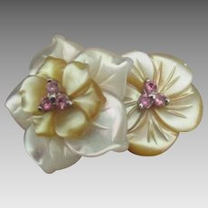 Lovely Sterling Carved Shell Double Flower Ring