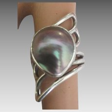 Stunning Sterling Mabe Pearl Ring- 7
