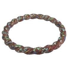 Vintage Twisted Cloisonne Bangle Bracelet