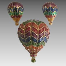 Colorful Enamel Hot Air Balloon Brooch and Pierced Earrings Set