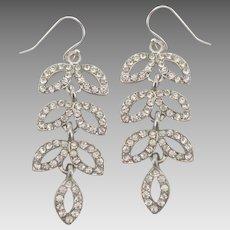 Sparkling Clear Rhinestone Leaf Dangle Pierced Earrings