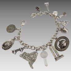 Vintage Sterling New York Theme Charm Bracelet
