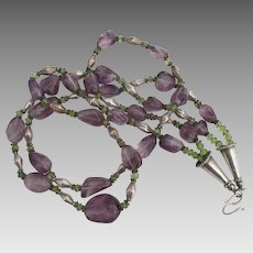 Stunning Sterling Amethyst Peridot Double Strand Necklace