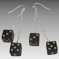 Vintage Sterling Black Dice Pierced Earrings