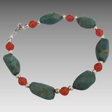 Lovely Green Turquoise Carnelian Sterling Bead Bracelet