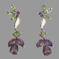 Beautiful Sterling Amethyst Peridot Glass Pierced Dangle Earrings