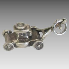 Vintage Sterling Mechanical Lawn Mower Charm