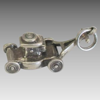 Vintage Sterling Mechanical Lawn Mower Charm