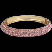 Sparkling Pink Rhinestone Pave Clamper Bracelet