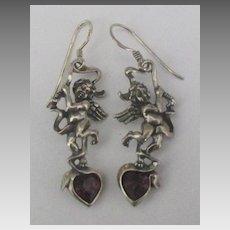 Lovely Sterling Rhodolite Garnet Eros Cupid Pierced Earrings