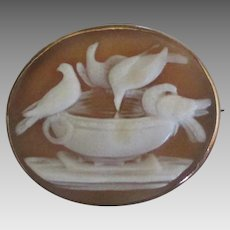 Vintage 10K Carved Shell Birds and Birdbath Cameo Brooch