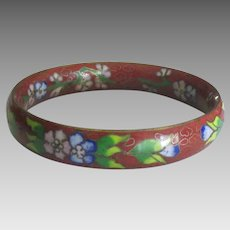 Vintage Floral Cloisonne Bangle Bracelet