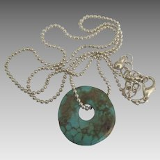 Spider Web Turquoise Disk Pendant and Sterling Chain