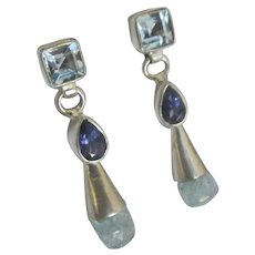 Lovely Sterling Blue Topaz Iolite Aquamarine Pierced Earrings