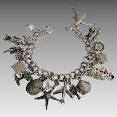 Loaded Sterling Hawaii Theme Charm Bracelet
