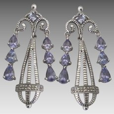 10K WG Alexandrite Chandelier Pierced Earrings