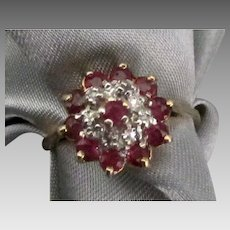 14K Ruby Diamond Petite Cocktail Ring- Size 6
