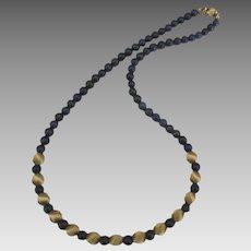 Stunning 14K Lapis Lazuli Bead Necklace