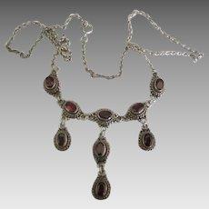 Gorgeous Sterling 9 Garnet Triple Dangle Necklace