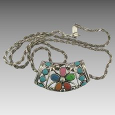 "Pretty Sterling Inlaid Pendant with 20"" Chain"