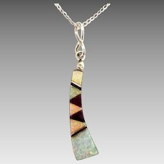 Stunning Signed Native American Sterling Inlaid Opal Pendant