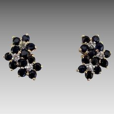 14K Sapphire Diamond Flower Cluster Pierced Earrings