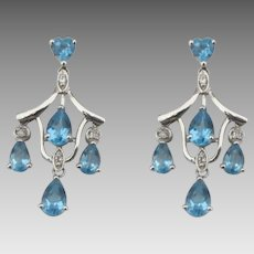 10K Blue Topaz Diamond Petite Chandelier Pierced Earrings