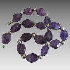 Stunning Chunky Amethyst Sterling Silver Bead Necklace