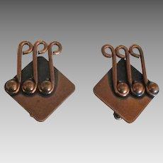 Signed Renoir Copper Earrings