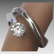 Sparkling CZ Sterling Solitaire By Pass Ring
