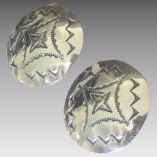 Large Navajo Sterling Concho Pierced Earrings