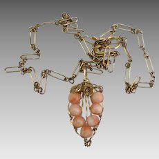 Lovely GF Angel Skin Coral Pendant and Chain