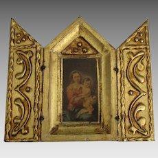 Italian Mary and Jesus Religious Triptych