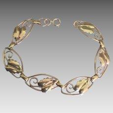 Pretty Gold Filled Leaf Link Bracelet