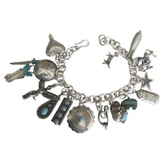 Loaded NA Navajo Sterling Charm Bracelet