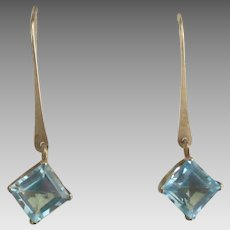 Lovely 10K YG Blue Topaz Pierced Earrings