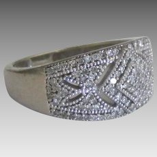 Sparkling Vintage Sterling Diamond Pave Ring- Size 5 3/4
