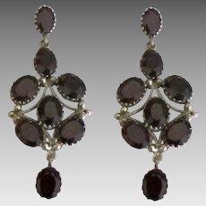 Stunning Sterling Garnet Run Way Pierced Earrings