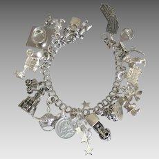Loaded Sterling Disney Disneyland Theme Charm Bracelet