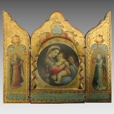 Vintage Italian Mary and Jesus with Angels Triptych