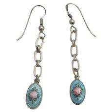 Sterling Guilloche Enamel Dangle Pierced Earrings