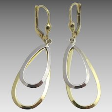 Attractive 14K Yellow and White Gold Lever Pierced Earrings